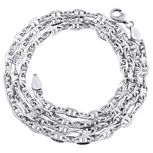 18K White Gold 3.25mm Solid Twist Puff Anchor Link Chain Necklace 20 - 22 Inch