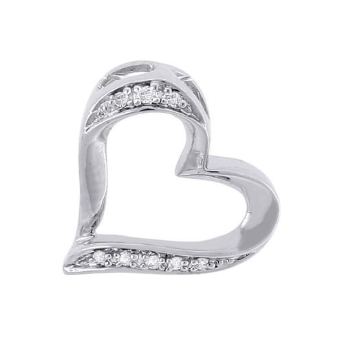 Diamond Heart Pendant 10K White Gold Round Cut Charm Necklace 0.05 CT.