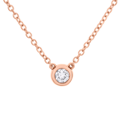"14K Rose Gold Round Solitaire Diamond 6mm Bezel Set Pendant 18"" Necklace 1/4 CT."