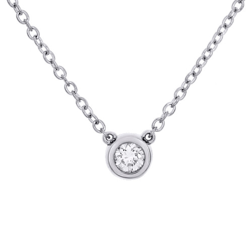 "14K White Gold Round Solitaire Diamond 6mm Bezel Set Pendant 18"" Necklace 1/4 CT"