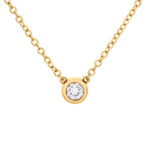 "14K Yellow Gold Round Solitaire Diamond 6mm Bezel Set 18"" Charm Necklace 1/4 CT."