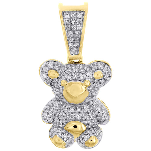 "10K Yellow Gold Real Diamond Teddy Bear Pendant 0.90"" Ladies Pave Charm 1/4 CT."