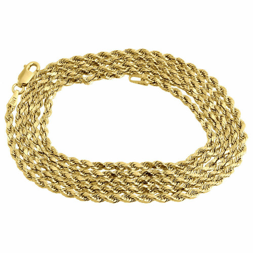 Mens or Ladies 10K Yellow Gold 2 MM D/C Hollow Rope Chain Necklace 16-30 Inches