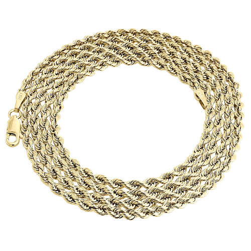 "10K Yellow Gold Mens or Ladies Hollow Rope Chain Necklace 3 MM 16"" - 30"" Inches"