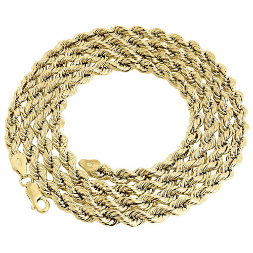 10K Yellow Gold 5mm Diamond Cut Hollow Rope Link Chain Necklace 20- 30 Inches
