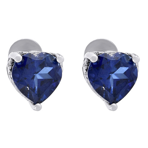 Created Blue Sapphire Heart Earrings Ladies .925 Sterling Silver Studs 2 Tcw.