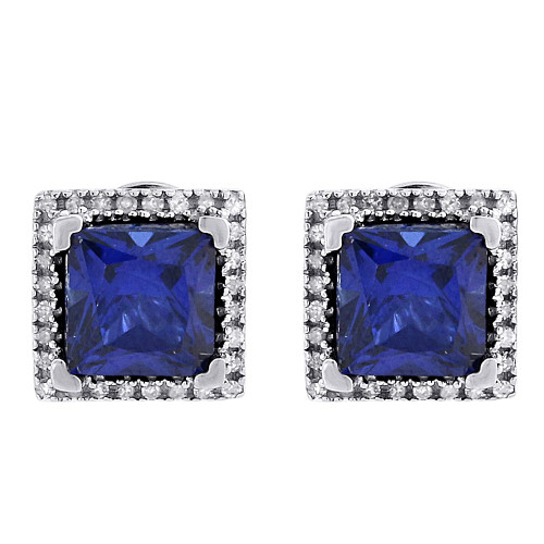 Diamond & Created Blue Sapphire Square Earrings Sterling Silver Studs 2.06 Tcw