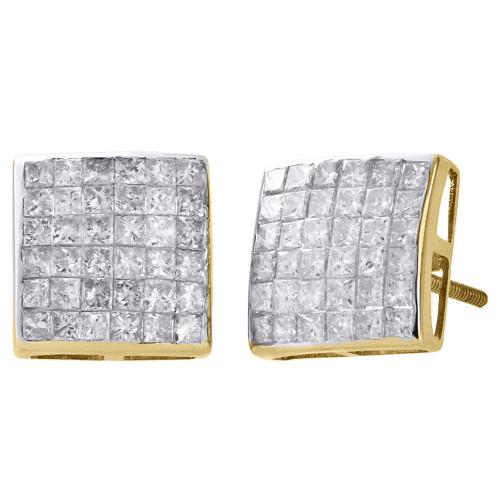 14K Yellow Gold Genuine Princess Diamond Studs 10.80mm Square Earrings 2 Ct.