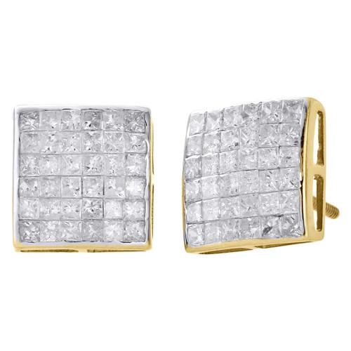 14K Yellow Gold Real Princess Diamond Studs 10.10mm Square Earrings 1.50 Ct.