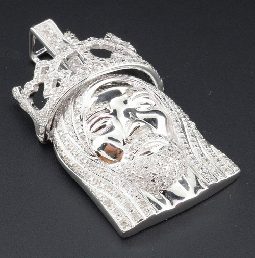 Mini Diamond Jesus Face Pendant .925 Sterling Silver Crown on Head Charm 1 Ct.