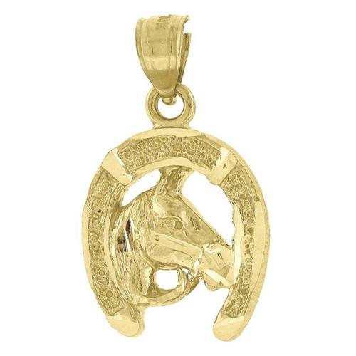"10K Yellow Gold Horse Pendant 0.95"" Horseshoe Charm"