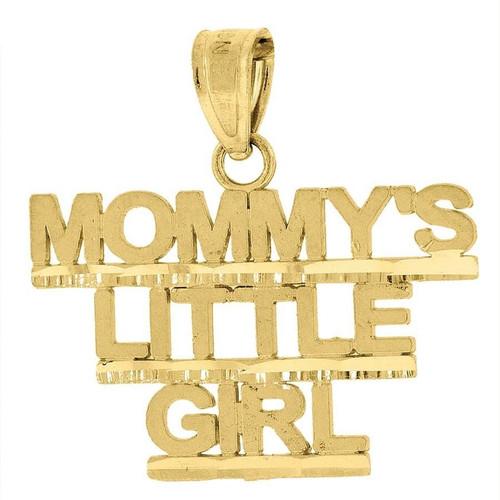 "10K Yellow Gold Mommy's Little Girl Pendant 0.75"" Ladies Charm"