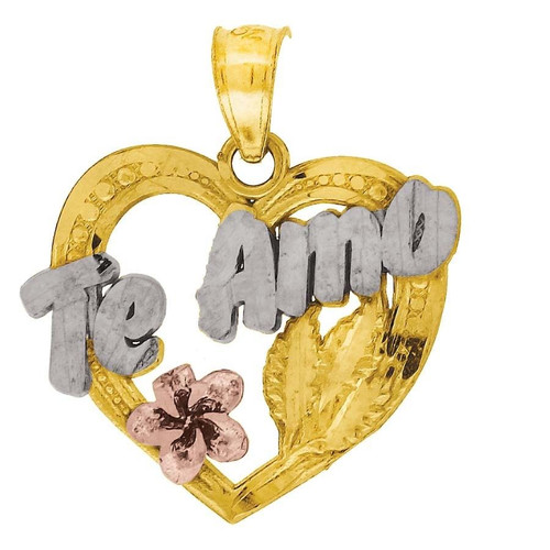 "10K Yellow Gold Te Amo Pendant 0.80"" Cut Out Charm"