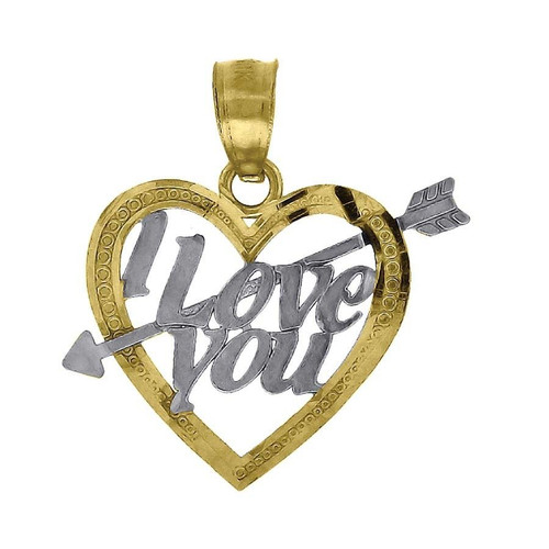 "10K Yellow Gold I Love You Arrow Heart Pendant 0.75"" Cut Out Charm"