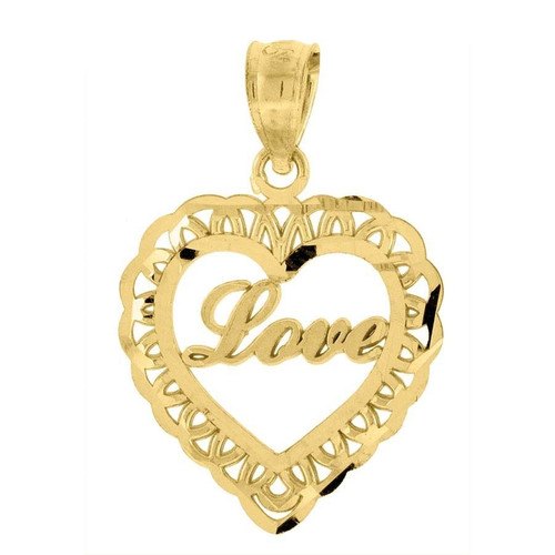 """10K Yellow Gold Love Heart Pendant 0.85"""" Cut Out Charm"""