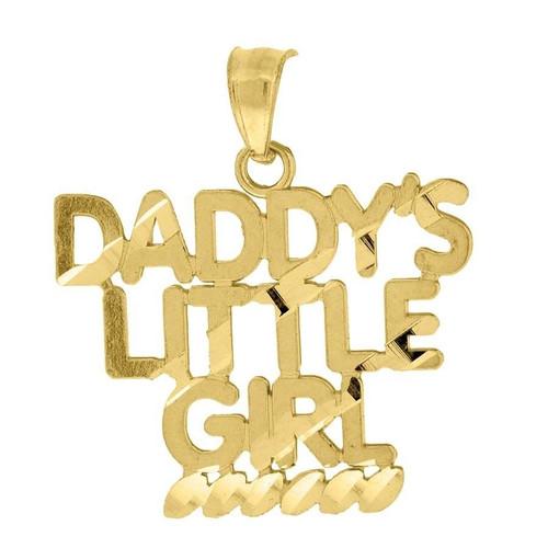"10K Yellow Gold Daddy's Little Girl Pendant 0.90"" Ladies Charm"