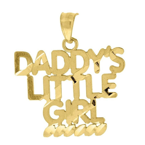 "10K Yellow Gold Daddy's Little Girl Pendant 0.90"" Ladies Charm"