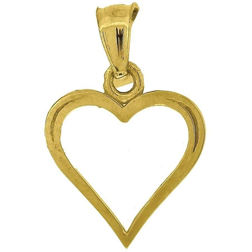 """10K Yellow Gold Heart Pendant 0.70"""" Cut Out Charm"""