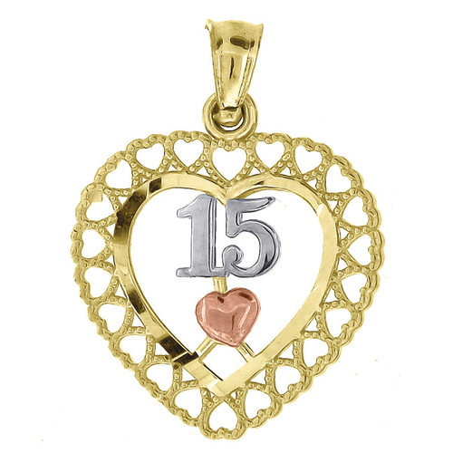 """10K Yellow Gold Quinceanera Center Heart Pendant 0.80"""" Cut Out Charm"""