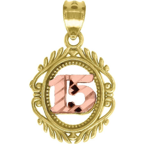 "10K Yellow Gold Quinceanera Pendant 0.80"" Cut Out Charm"