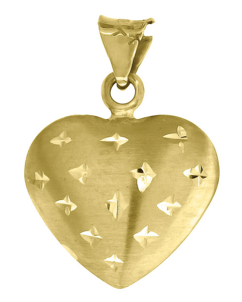 "10K Yellow Gold Puff Heart Pendant 0.75"" Diamond Cut Charm"