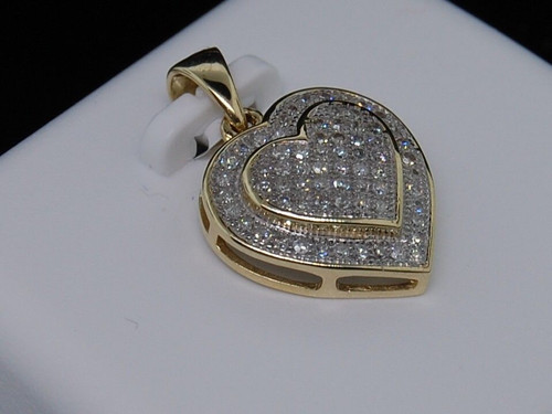 0.25 CT Genuine Diamond Heart Love Shape Pendant Charm 10K Yellow Gold