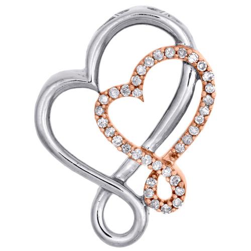 Diamond Double Heart Pendant 10K Rose Gold 0.15 CT.