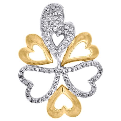 Diamond Heart Pendant 10K White and Yellow Gold 0.20 CT. Love Charm