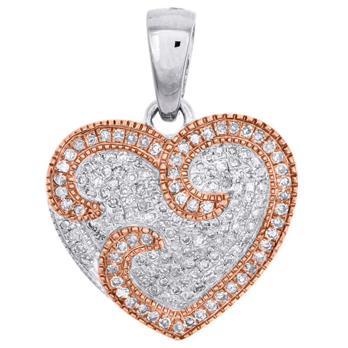 Diamond Heart Pendant 10K White and Rose Gold 0.33 CT Love Charm