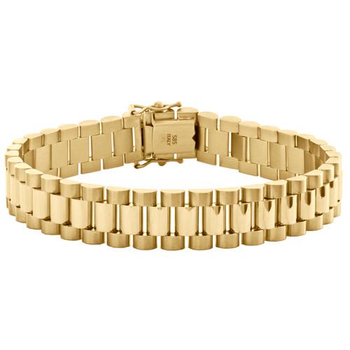 "14K Yellow Gold Men Presidential Solid Link Box Clasp 12mm President Bracelet 8"""