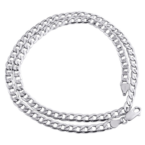 10K White Gold 4.75mm Plain Hollow Cuban Curb Link Chain Necklace 18 - 30 Inch