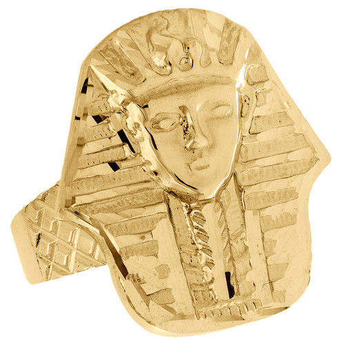 Real 10K Yellow Gold Diamond Cut Egyptian Pharaoh King Tut Pinky Ring  25mm Band