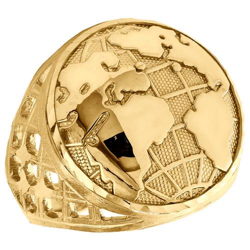 Real 10K Yellow Gold Diamond Cut World Map Statement Pinky Ring 23mm Band