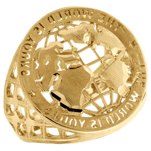 Real 10K Yellow Gold World Map The World Is Yours Statement Pinky Ring 23mm Band