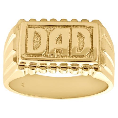 Genuine 10K Yellow Gold Diamond Cut DAD Statement Rectangle Pinky Ring 11mm Band