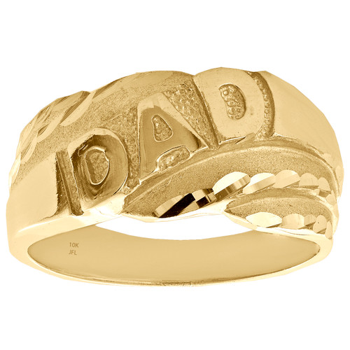 Genuine 10K Yellow Gold Diamond Cut DAD Statement Pinky Ring 10mm Band