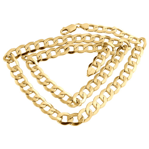 10K Yellow Gold 9.50mm Hollow Plain Cuban Curb Link Chain Necklace 22 - 30 Inch