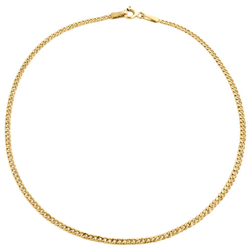 Genuine 10K Yellow Gold 1.90mm Hollow Plain Cuban Curb Link Bracelet 8-10 Inch