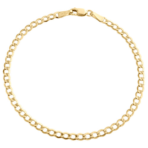 Genuine 10K Yellow Gold 2.50mm Hollow Plain Cuban Curb Link Bracelet 7-9 Inches