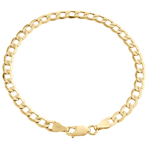 Genuine 10K Yellow Gold 4.50mm Hollow Plain Cuban Curb Link Bracelet 7-9 Inches