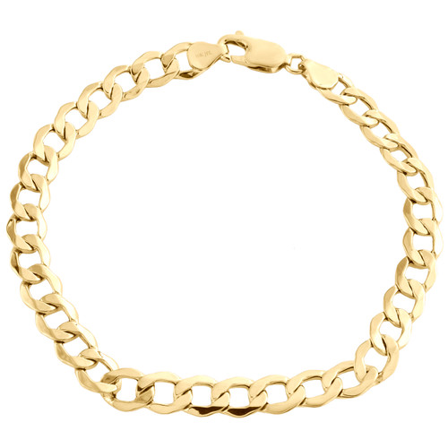 10K Yellow Gold 6.50mm Hollow Plain Cuban Curb Link Mens Bracelet 8 - 9 Inches
