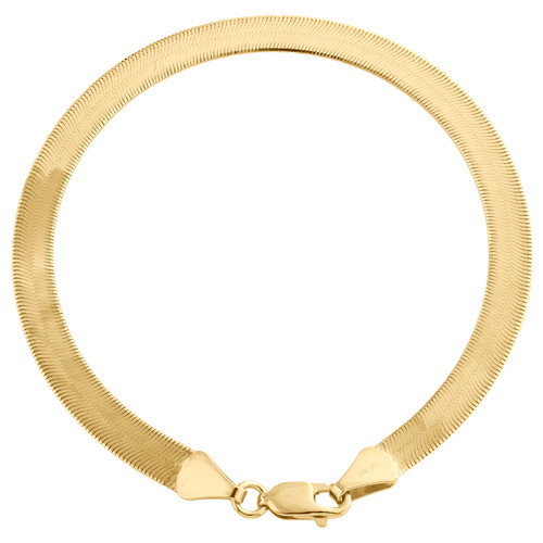 10K Yellow Gold 4.90mm Mens Solid Herringbone High Polished Bracelet 7-9 Inches