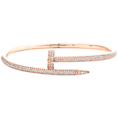Solid 18K Rose Gold Genuine Diamond Nail Bracelet Paved Size 20 Bangle 2.50 CT.