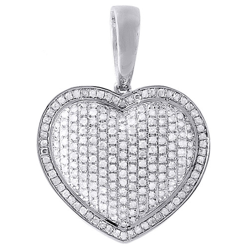 10K White Gold Diamond Pave Puffy Heart Pendant Charm for Chain Necklace 1.10 CT.