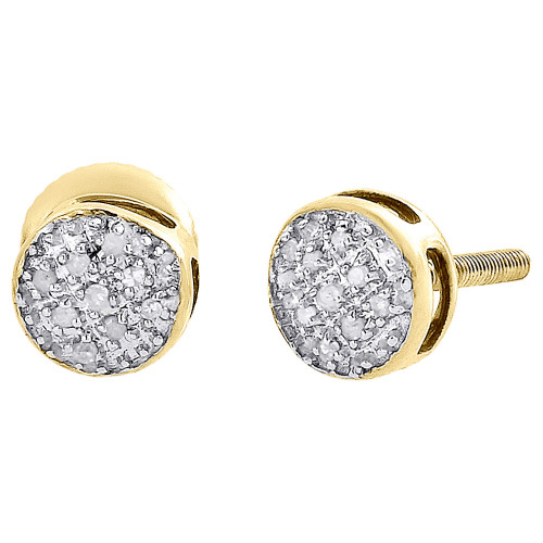 Diamond Round Stud Earrings .925 Yellow Sterling Silver Circle Pave Design 0.10 Ct.