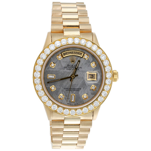 Rolex President Day-Date 18038 Diamond Watch 18K Gold 36mm Meteorite Dial 4.18 CT