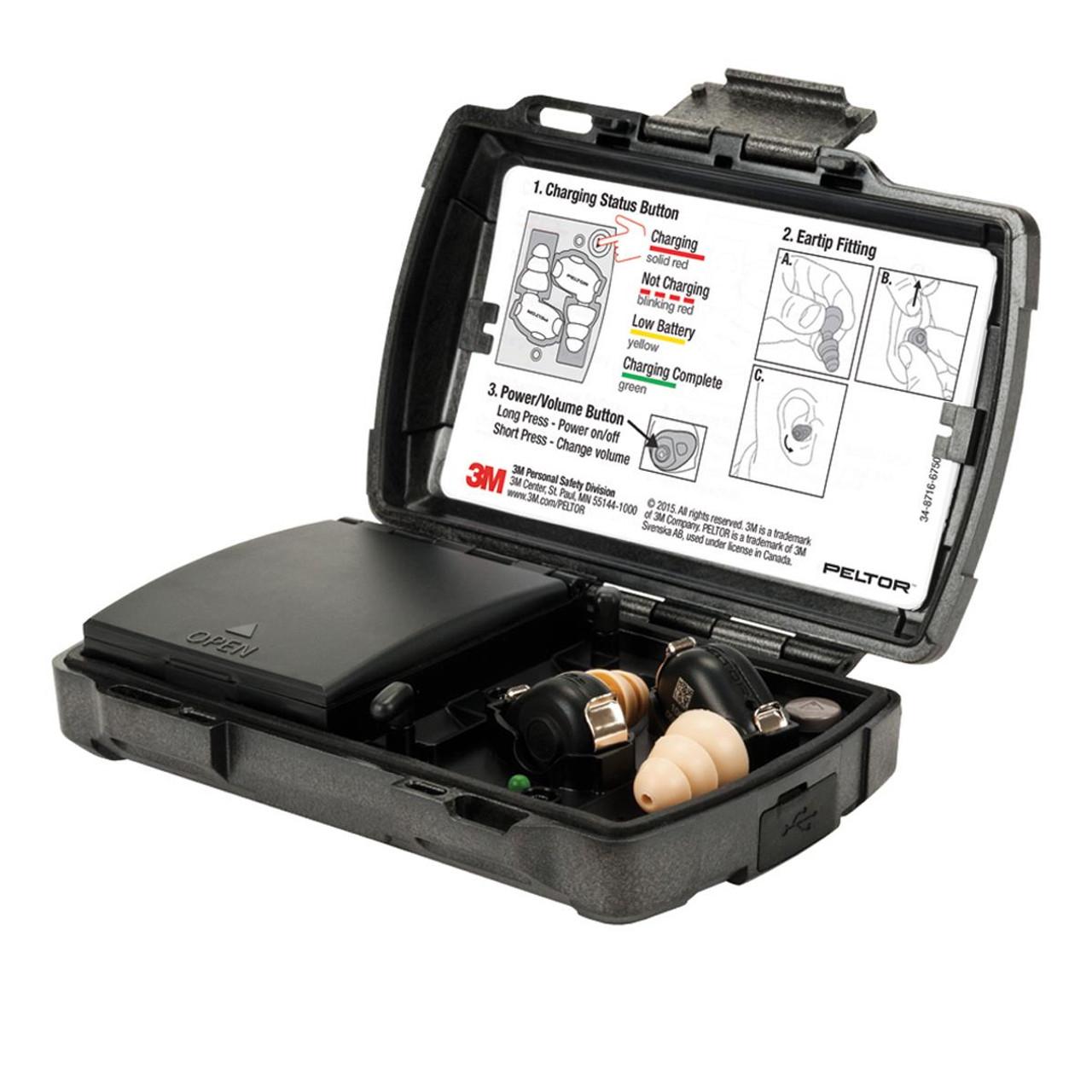 Black Peltor TEP-100 Tactical Electronic Ear Plug Kit