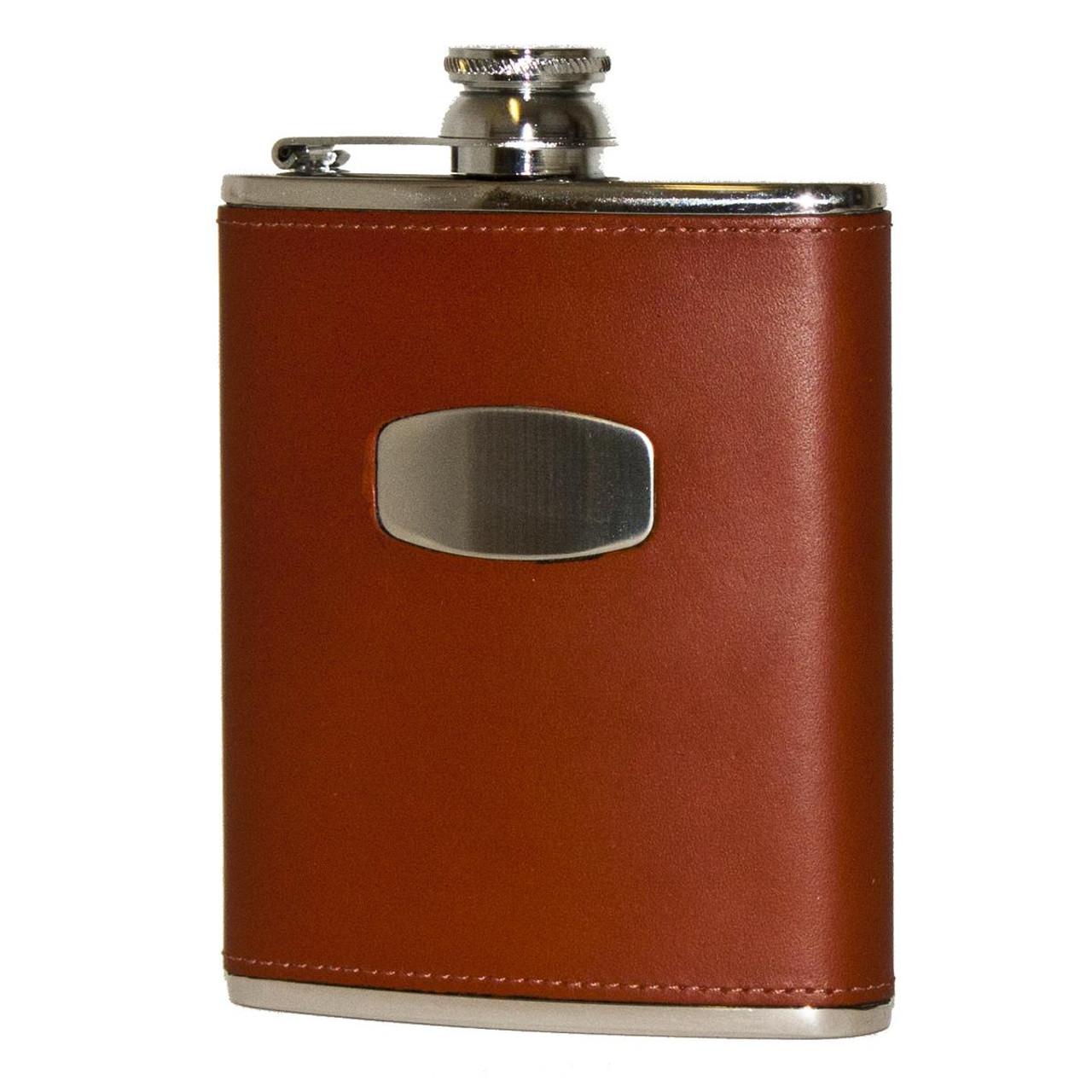Brown Leather Bisley Hip Flask