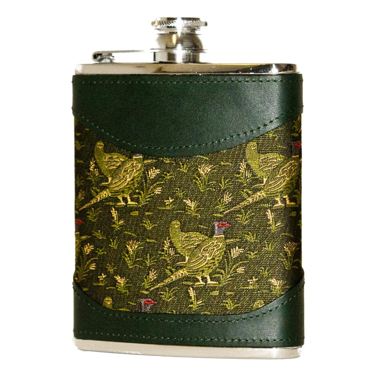 Green Bisley 6oz Pheasant Fabric & Leather Hip Flask