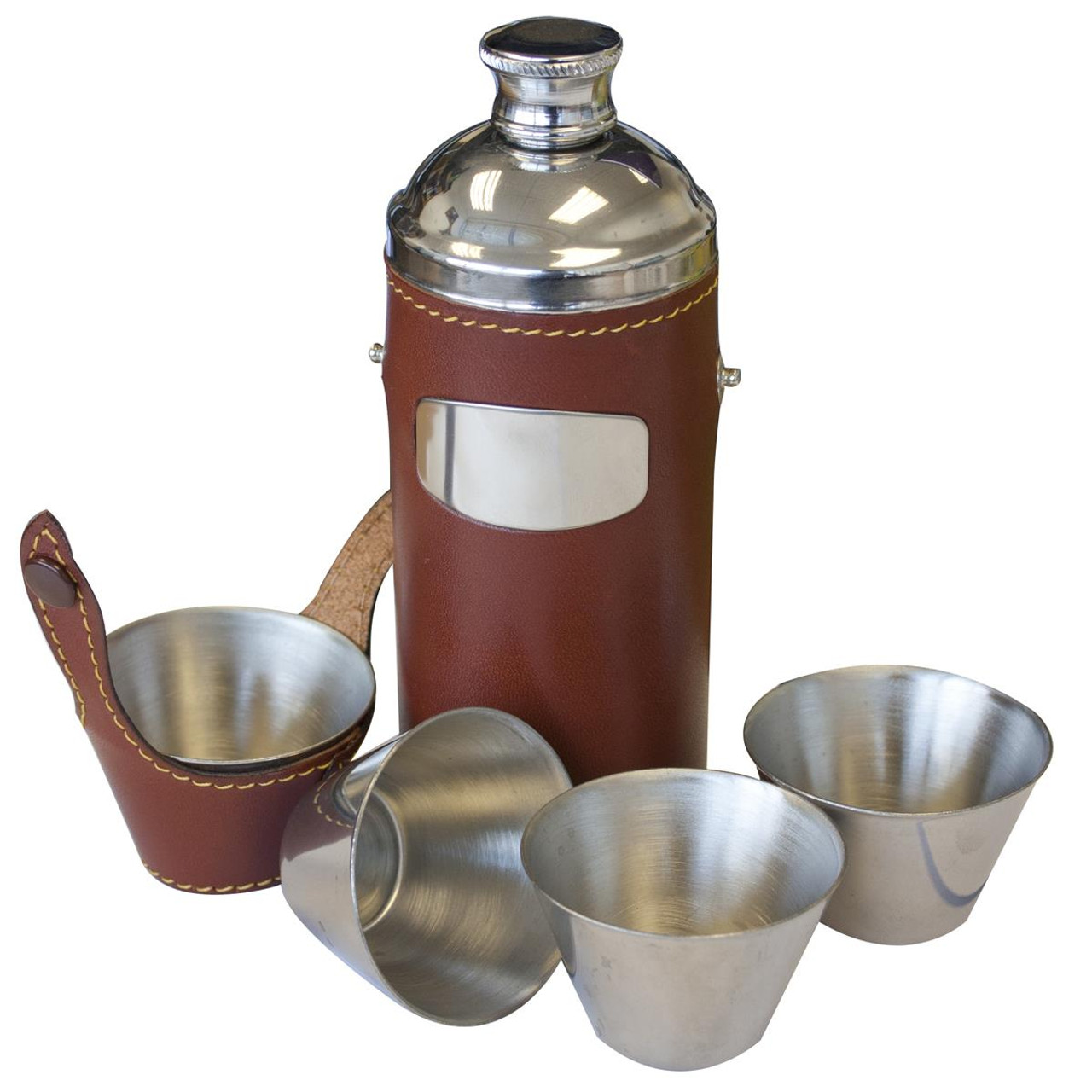 Brown Bisley 8oz Hunters Flask & Cup Set